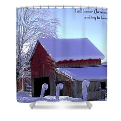 Connecticut Christmas Connecticut Usa Shower Curtain by Sabine Jacobs
