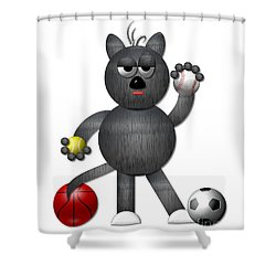 Cool Alley Cat Athlete Shower Curtain by Rose Santuci-Sofranko