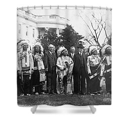 Coolidge With Native Americans Shower Curtain by Photo Researchers