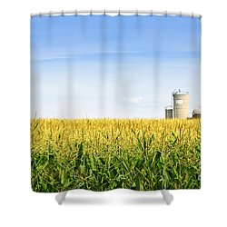 Corn Field With Silos Shower Curtain by Elena Elisseeva