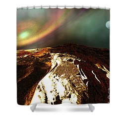 Cosmic Landscape Of An Alien Planet Shower Curtain by Corey Ford