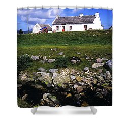 Cottage On Achill Island, County Mayo Shower Curtain by The Irish Image Collection