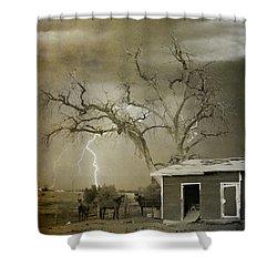 Country Horses Lightning Storm Ne Boulder Co 66v Bw Art Shower Curtain by James BO  Insogna