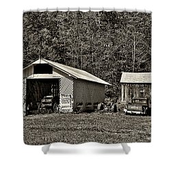 Country Life Sepia Shower Curtain by Steve Harrington