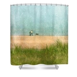 Couple On Beach With Dog Shower Curtain by Jill Battaglia