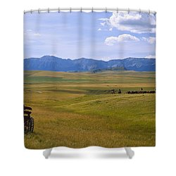 Cowboys And Wagon On A Cattle Drive Shower Curtain by Carson Ganci
