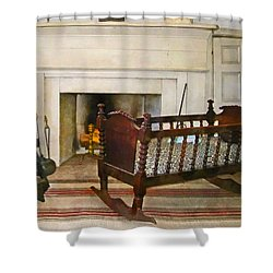 Cradle Near Fireplace Shower Curtain by Susan Savad