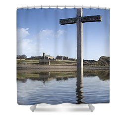 Cross In Water, Bewick, England Shower Curtain by John Short