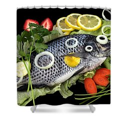Crucian Fish With Vegetable Shower Curtain by Paul Ge