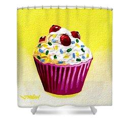 Cupcake With Cherries Shower Curtain by John  Nolan