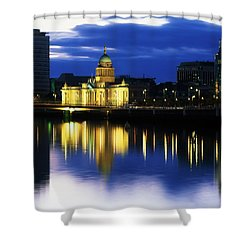 Customs House And Liberty Hall, River Shower Curtain by The Irish Image Collection