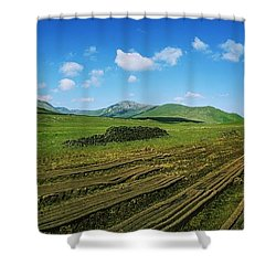Cut Turf On A Landscape, Connemara Shower Curtain by The Irish Image Collection