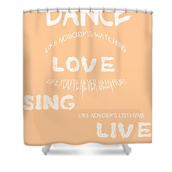 Dance Like Nobody's Watching - Peach Shower Curtain by Georgia Fowler