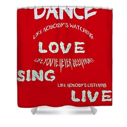 Dance Like Nobody's Watching - Red Shower Curtain by Georgia Fowler