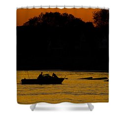 Day Of Fishing Is Over Shower Curtain by Karol Livote