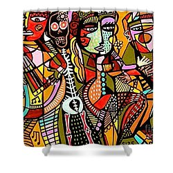 Day Of The Dead Lovers Tango Shower Curtain by Sandra Silberzweig