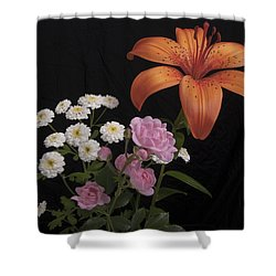 Daylily And Roses Shower Curtain by Michael Peychich