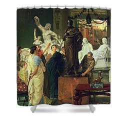 Dealer In Statues  Shower Curtain by Sir Lawrence Alma-Tadema