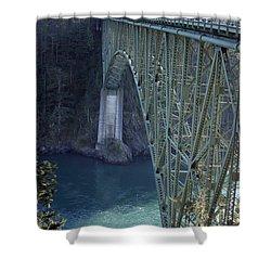 Deception Pass Bridge South Span Shower Curtain by Randall Thomas Stone
