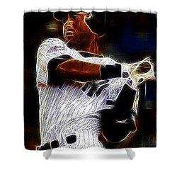 Derek Jeter New York Yankee Shower Curtain by Paul Ward