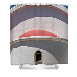 Detail Of Small Church Between Limnes Shower Curtain by Axiom Photographic