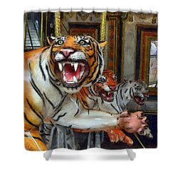 Detroit Tigers Carousel Shower Curtain by Michelle Calkins