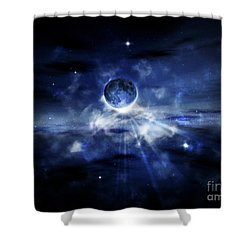 Digitally Generated Image Of A Planet Shower Curtain by Vlad Gerasimov