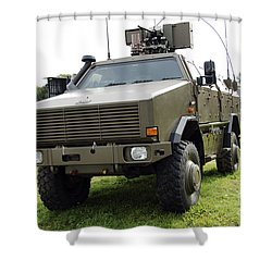 Dingo II Vehicle Of The Belgian Army Shower Curtain by Luc De Jaeger