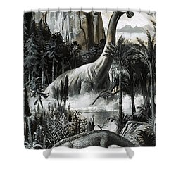 Dinosaurs Shower Curtain by Roger Payne