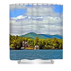 Distant Lake View In Spring Shower Curtain by Susan Leggett