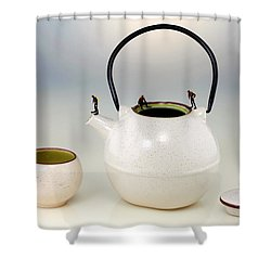 Diving On Tea Pot And Cup Shower Curtain by Paul Ge