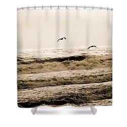 Dodging The Waves Shower Curtain by Trish Tritz