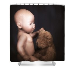 Doll And Bear Shower Curtain by Joana Kruse
