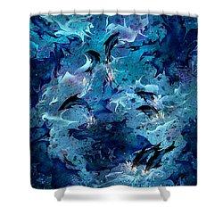 Dolphin Enchantment Shower Curtain by Rachel Christine Nowicki