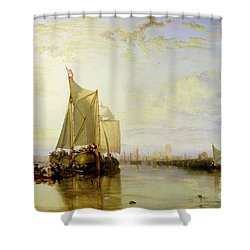 Dort Or Dordrecht - The Dort Packet-boat From Rotterdam Becalmed Shower Curtain by Joseph Mallord William Turner