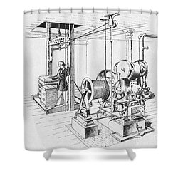 Double Oscillating Steam Engine Shower Curtain by Science Source