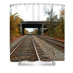 Down The Lines Shower Curtain by Sandi OReilly