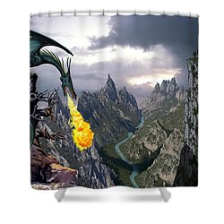 Dragon Valley Shower Curtain by The Dragon Chronicles - Garry Wa