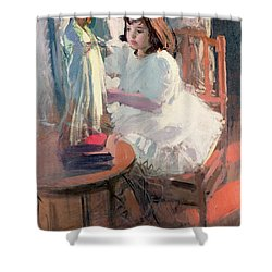 Dressing Her Doll Shower Curtain by Claudio Castelucho