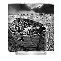 Dungeness Decay Shower Curtain by Meirion Matthias