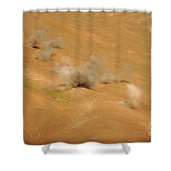 Dust Rises From The Impact Points Of Kp Shower Curtain by Stocktrek Images