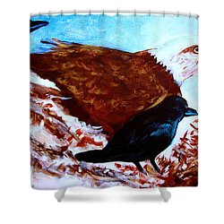 Eagle And Ravens Shower Curtain by Seth Weaver