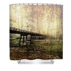 Early Morning Pier Shower Curtain by Skip Nall