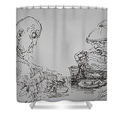 Eaters Shower Curtain by Ylli Haruni