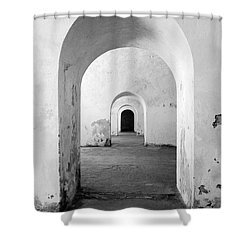 El Morro Fort Barracks Arched Doorways Vertical San Juan Puerto Rico Prints Black And White Shower Curtain by Shawn O'Brien