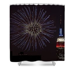 Empire State Fireworks Shower Curtain by Susan Candelario