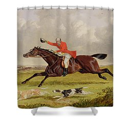 Encouraging Hounds Shower Curtain by John Frederick Herring Snr
