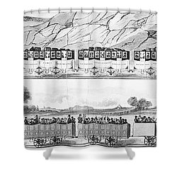 England: Railroad Travel Shower Curtain by Granger