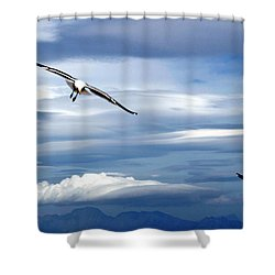 Enjoying The Sky Shower Curtain by Andrew  Hewett