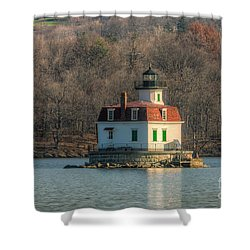 Esopus Meadows Lighthouse I Shower Curtain by Clarence Holmes